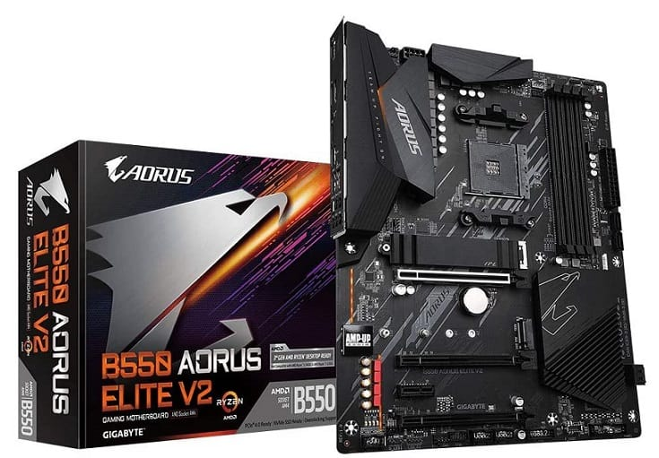 Gigabyte B550 AORUS Elite V2 (AMD Ryzen 5000/B550/ATX/PCIe4.0/DDR4/USB3.2 Gen 1/Realtek ALC1200/M.2/2.5 GbE LAN/HDMI/DP/Gaming Motherboard)